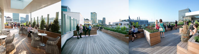 Selection of different images of the 30 Eustom Square rooftop terrace