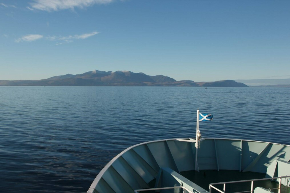 Isle of Arran from the front of a boat