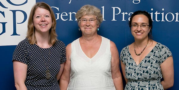 At the launch, from left Carrie Ladd, Judy Shakespeare, Louise Santhanam