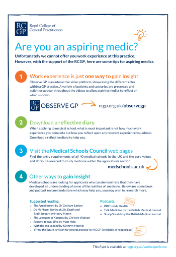 Useful information flyer for aspiring medics