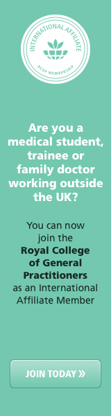 This image is advertising RCGP membership for medical sudents and traineed doctors who live outside of the UK.