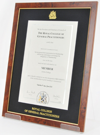 An image of a framed certificate