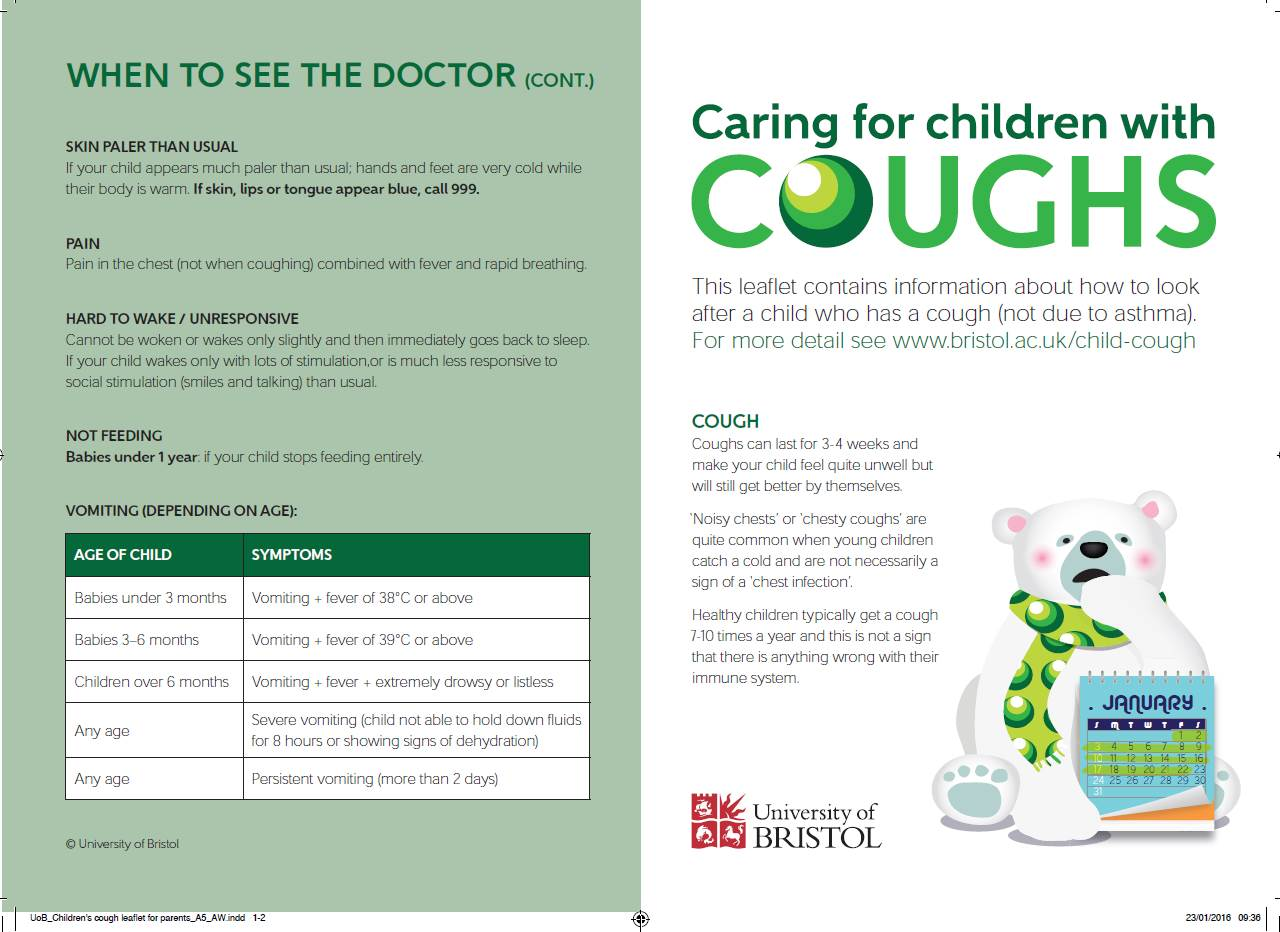 Caring for children with coughs leaflet