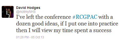Image of a Tweet from the RCGP Annual conference 2013 from an enthusiastic GP