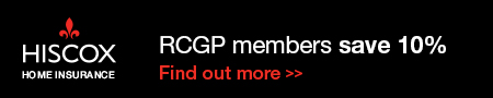 Banner advert for Hiscox Insurance for RCGP members offering a 10 per cent discount