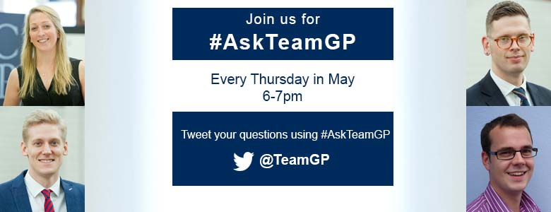 This image of GPs is promoting weekly Twitter question and answer sessions about general practice, every Thursday in May using the hashtag #AskTeamGP