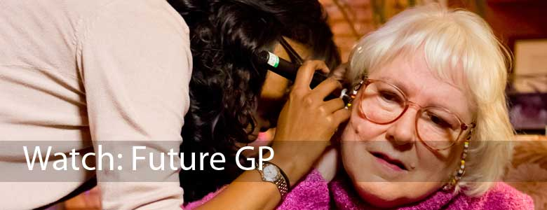 This image promoting the RCGP Future GP video shows a female GP examining a female patient, at the pateint's home.